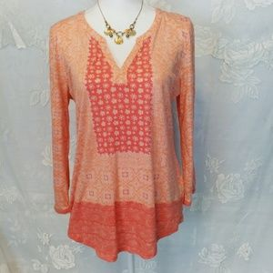 Lucky Brand orange long sleeve V neck top Large